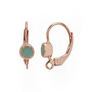 Rose Gold Plated 925 Sterling Silver Leverback Earrings With 0.52cts Sakota Emerald Setting (1pair)