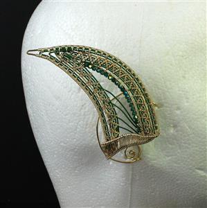 Goblin Ears; Dark Forest Green & Champagne Gold Wire with Swarovski Bicones & Wire Mesh