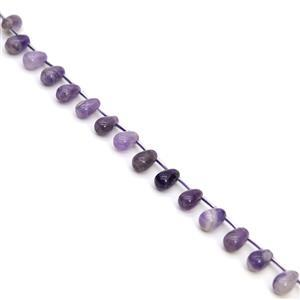 180cts Amethyst Top Drilled Drops Approx 8x12mm, 38cm Strand