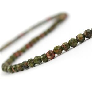 40cts Unakite Faceted Rounds Approx 4mm, 38cm Strand