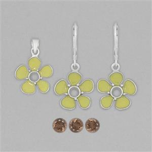 925 Sterling Silver Neon Yellow Enamelled Colour Pendant & Earrings Mount Kit Inc. 1.25cts Smokey Quartz 5mm Round