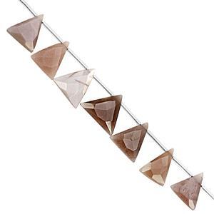 85cts Chocolate Moonstone Top Side Drill Faceted Trillians Approx 11x6 to 19x17.5mm, 23cm Strand with Spacers