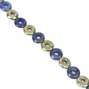 118cts Pyrite & Lapis Lazuli Donut Approx 14mm, 8
