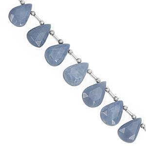 78cts Blue Opal Top Side Drill Faceted Pear Approx 14x9 to 20.5x13mm, 20cm Strand with Spacers