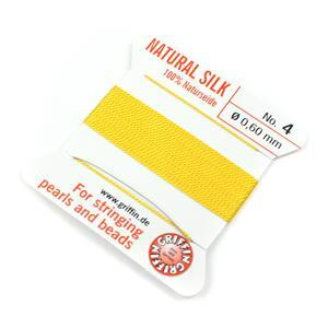 Silk Thread, Size 04 (.6 mm, .024 in) - Yellow, with needle, 2 m (6.5 ft)