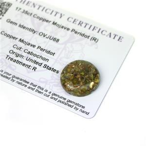 17.35cts Copper Mojave Peridot 20x20mm Round  (R)