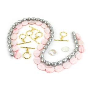 Pink Panther Pearl Mini Make; Freshwater Rice Pearl,Keshi Pearls & Pear Shaped Shell Pears