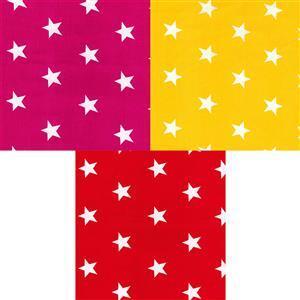 Rose & Hubble Cotton Poplin Red & Yellow Stars Fabric Bundle (1.5m)