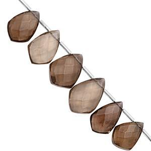 110cts Smokey Quartz Top Side Drill Faceted Fancy Pear Approx 14x9 to 23.5x15.5mm, 18cm Strand