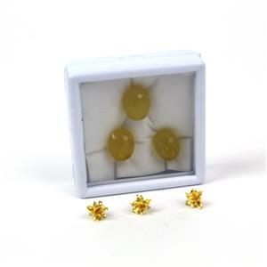 Club Tropicana! 3x Gold Plated 925 Sterling Silver Pineapple Bails & Yellow Chalcedony