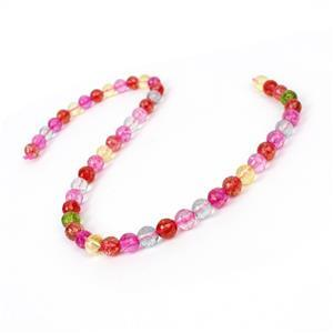 170cts Dyed Multi-Colour Quartz Faceted Rounds Approx 8mm, 38cm strand