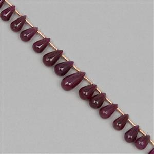 40cts Ruby Graduated Plain Drops Approx 3x2 to 10x5mm, 16cm Strand.