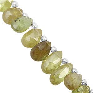 30cts Ambilobe Sphene Faceted Pear Approx 5.5x3.5 to 7x8mm, 14cm Strand With Spacers