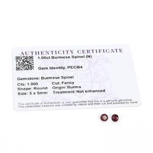 1cts Burmese Spinel 5x5mm Round Pack of 2 (N)