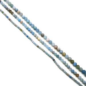 300cts Aquamarine Frosted Rounds Approx 4 - 8mm, 38cm Strands (Set of 3)