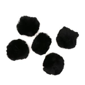 Black Faux Fur Pom Poms, Approx 8cm (5pcs/pack)