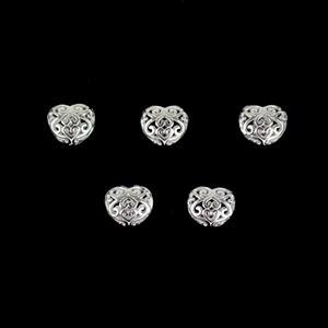 925 Sterling Silver Hollow Heart Bead Spacers Approx 8mm, 5Pcs