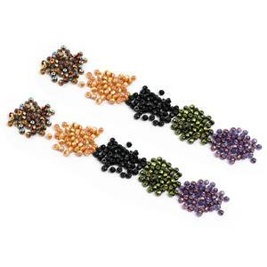 Sparks: 2x Preciosa Hill Beads in Glittery Bronze, Jet Red, Apricot, Jet & Lila Lustre