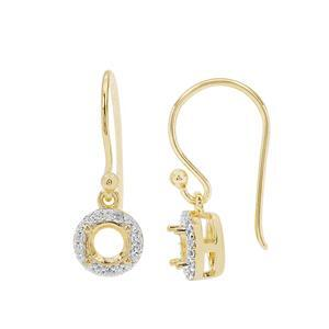 Gold Plated 925 Sterling Silver Round Earrings Mount (To fit 5mm gemstone) Inc. 0.25cts White Zircon Brilliant Cut Round 1mm - 1 Pair