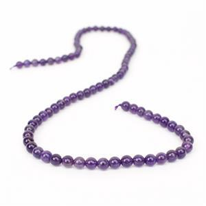 40cts Amethyst Plain Rounds Approx 4mm, 38cm Strand