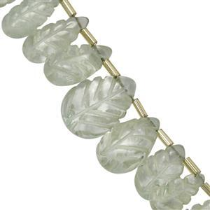 100ct Green Amethyst Side Drill Carved Pears Approx 10.50x7 to 18x11.75mm, 20cm Strand With Spacers
