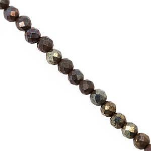 8cts Coated Mystic Brown Spinel Faceted Round Approx 2mm, 30cm Strand