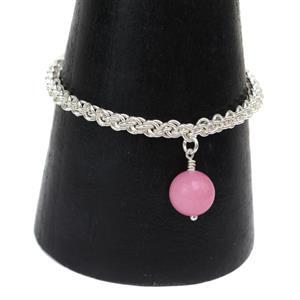 Pretty Pink Quartzite Chainmaille, 800 pieces Silver Plated Copper Open Jump Rings