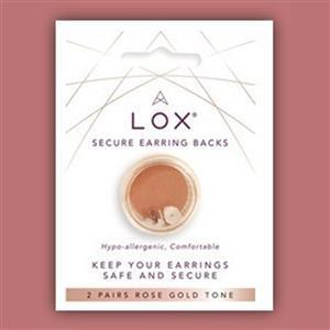 Lox Secure Earring Backs, Rose Gold Tone (2 pairs)