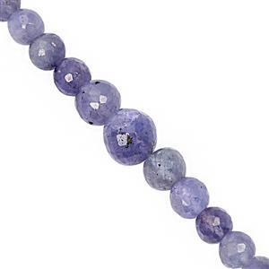 100cts Tanzanite Graduated Faceted Round Approx 4 to 9mm, 38cm Strand