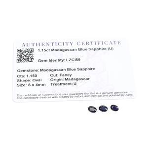 1.15cts Madagascan Blue Sapphire 6x4mm Fancy Pack of 3 (U)