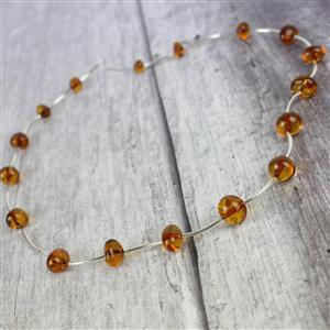 Baltic Cognac Amber Baroque Beads With Sterling Silver Spacers Approx 5x8 - 11x9mm 38cm
