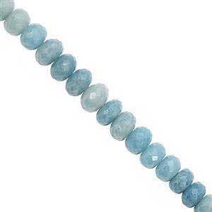 50cts Paraiba Quartz Faceted Rondelle Approx 4x2 to 8x4mm, 14cm Strand