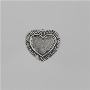 ICE Resin® Milan Antique Silver Medium Heart Bezel Closed Backs Apppox ID 29x20mm