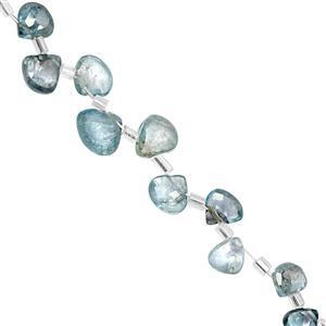 25cts Blue Zircon Side Drill Faceted Heart  Approx 4 to 9mm, 15cm Strand With Spacers