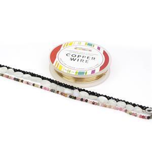 Rain Dance; Rainbow Moonstone Tumble, Black & Multi Coloured Tourmaline with 0.6 Champagne Gold Wire
