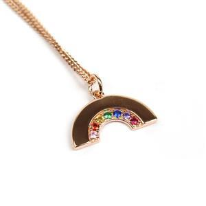 Rose Gold Plated 925 Sterling Silver Rainbow Pendant With CZ Approx mm, 1 x 3mm Jump Ring & 18inch Curb Chain