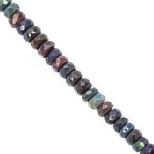 16cts Black Ethiopian Opal Faceted Rondelles Approx 2.5x1.5 to 4x2.5mm, 19cm Strand