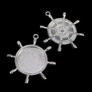 Silver Colour Bezel Pendant in Boat Wheel Shape Approx 45x50mm (Set of 2)