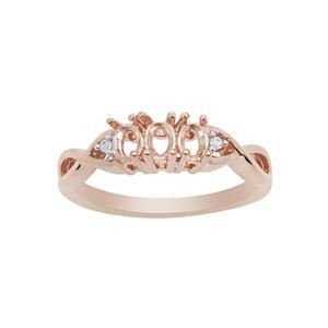 Rose Gold Plated 925 Sterling Silver Trilogy Oval Ring Mount (To fit 4x3mm gemstones) Inc. 0.01cts White Zircon Brilliant Cut Round 1.25mm - 1Pcs