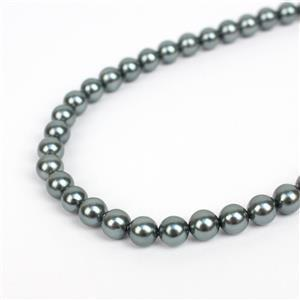 Mid Blue Shell Plain Rounds Approx 6mm, 38cm strand