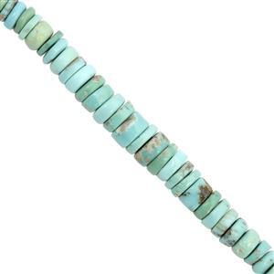 65cts Sleeping Beauty Turquoise Graduated Plain Wheels Approx 4x1.5 to 8x2mm, 21cm Strand