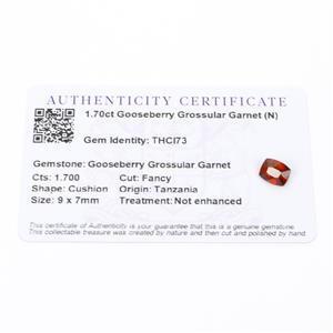 1.7cts Gooseberry Grossular Garnet 9x7mm Cushion  (N)