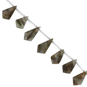 75cts Labradorite Side Drill Smooth Kites Approx 20x9.5 to 27x11mm, 13cm Strand with Spacer
