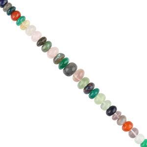 130cts Multi Gemstones Graduated Plain Rondelles Approx 6x3 to 11x5mm, 20cm Strand.