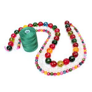 Rainbow Knotting: 6mm & 12mm Faceted Rounds, 8mm Plain Rounds & 0.4mm Green Nylon Cord