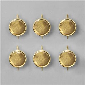 Gold Plated Bezel Earrings Round - 17mm (3pairs/pk)