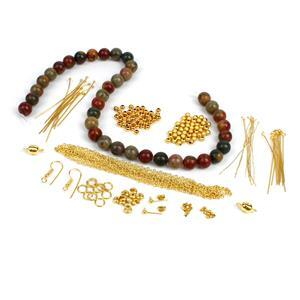 Picasso; Picasso Jasper 10mm, Gold Plated Base Metal Spacers, Stardust Beads, Findings 75pc