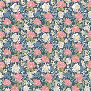 Country Roads Pink & Blue Flowers on Navy Fabric 0.5m