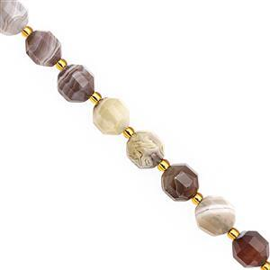 98cts Botswana Agate Faceted Lantern Approx 9.5x8.5 to 10x9mm, 20cm Strand with Spacers
