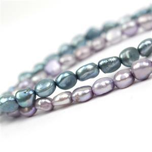 2 x 38cm Strands Dyed Baroque Pearls Approx 7-8mm (Mermaid: Purple & Aqua)